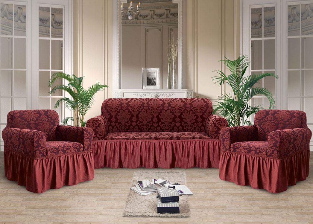 Чехлы на диван и кресла жаккард-стрейч с оборкой Вишневый