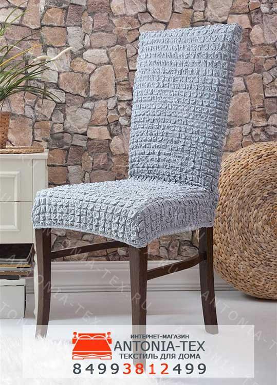 Чехлы на стулья без оборки Серый (комплект - 6шт)