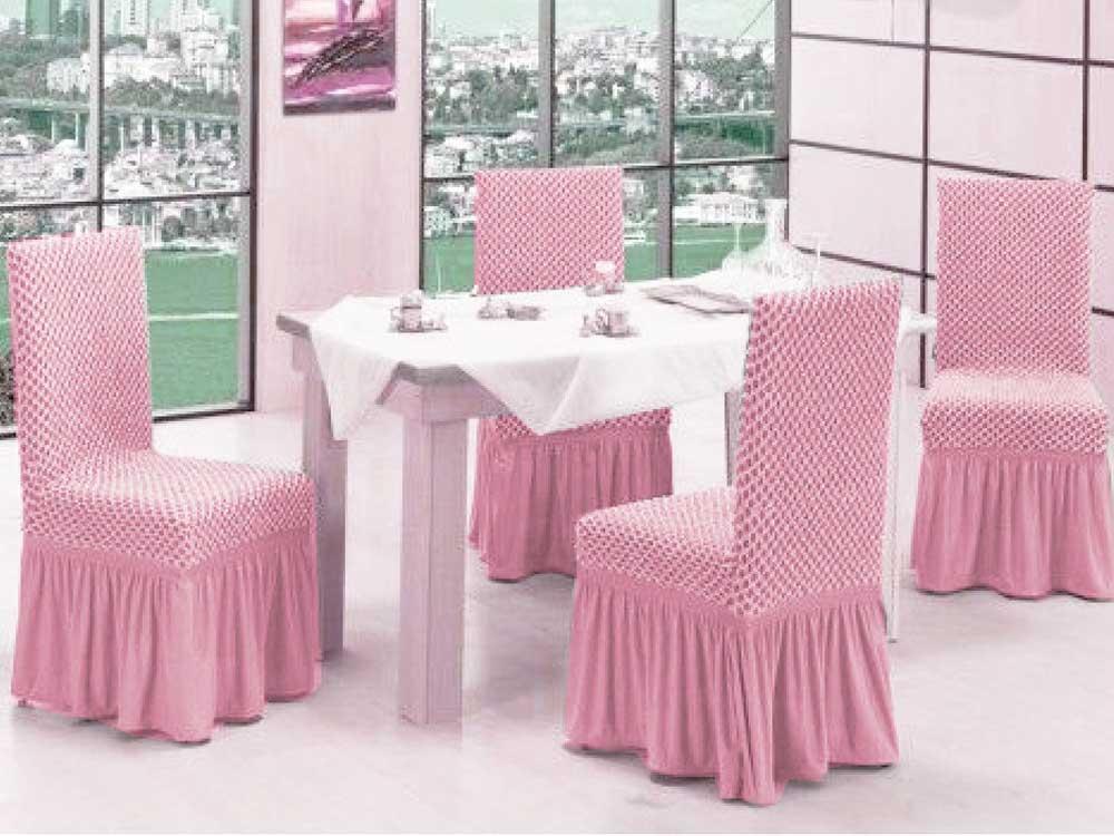 Чехлы на стулья VIP двойные соты Пудра