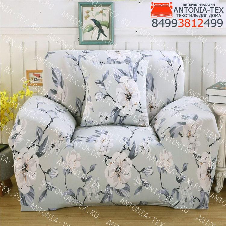 Чехол на диван эластичный без оборки с рисунком Бьянка