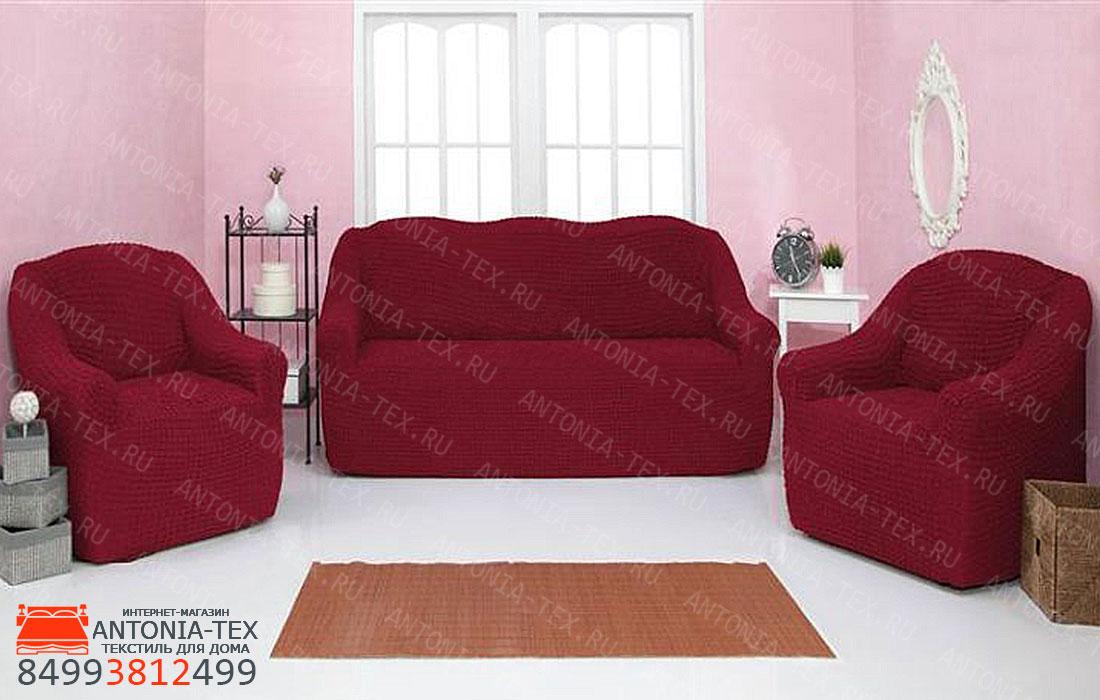Чехлы на диван и кресла Жатка без оборки Бордовый