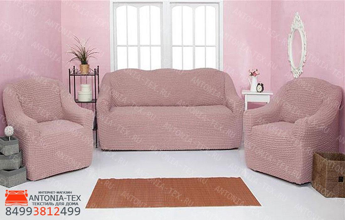Чехлы на диван и кресла Жатка без оборки Пудра