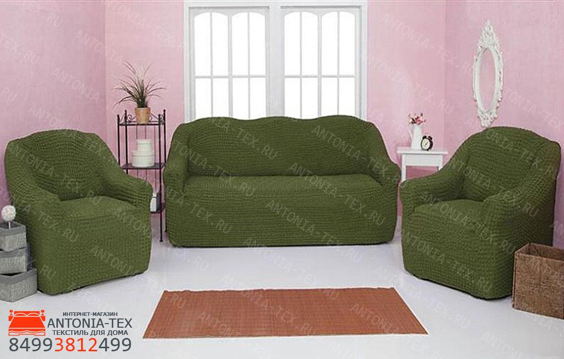 Чехлы на диван и кресла Жатка без оборки Зеленый