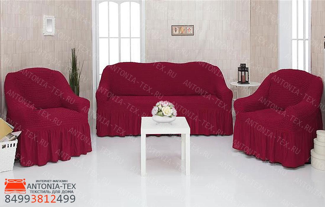 Чехлы на диван и кресла Жатка с оборкой Бордовый