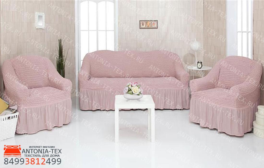 Чехлы на диван и кресла Жатка с оборкой Пудра