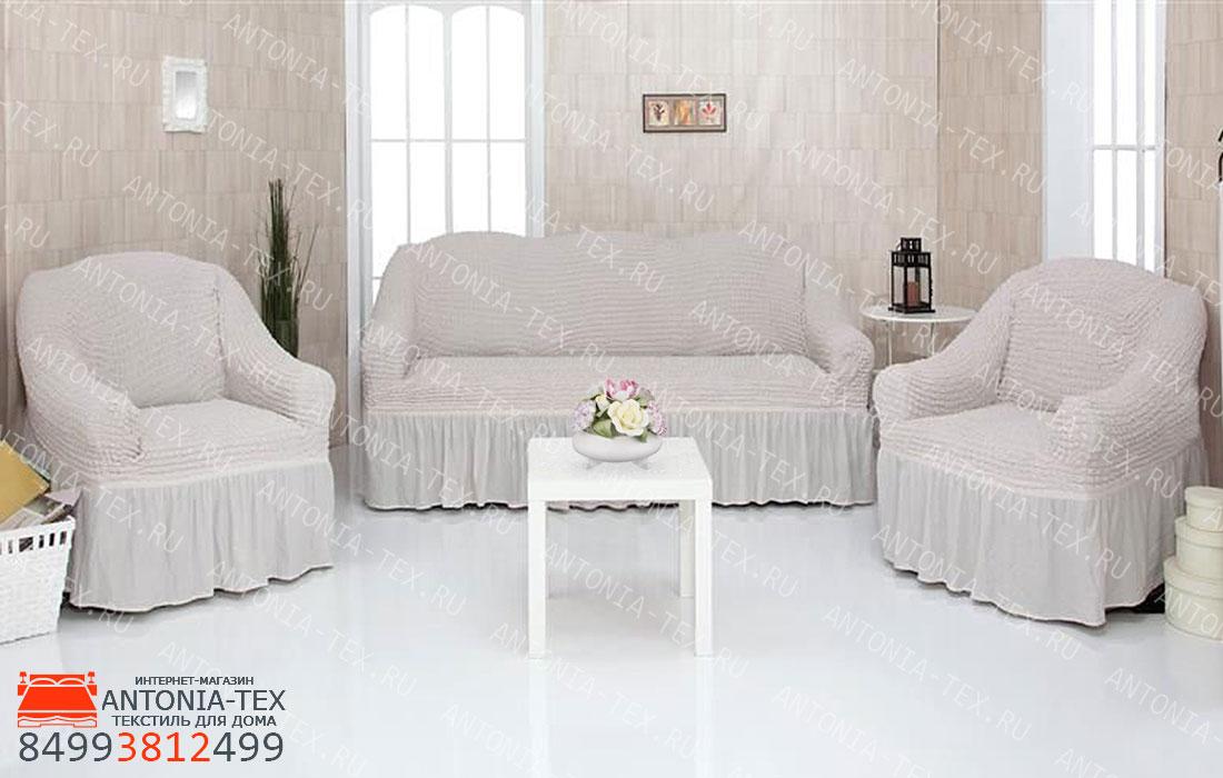 Чехлы на диван и кресла Жатка с оборкой Кремовый