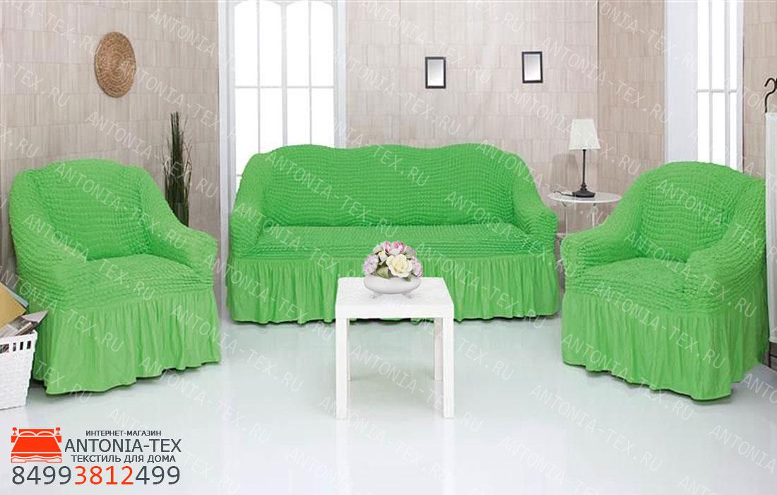 Чехлы на диван и кресла Жатка с оборкой Салатовый