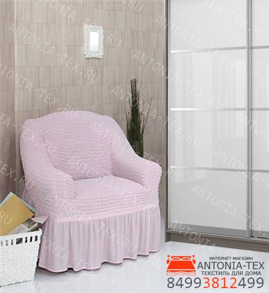 Чехол на кресло с оборкой Розовый