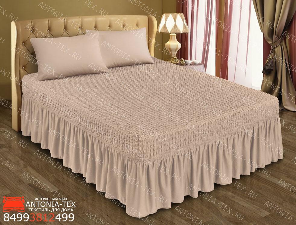 Чехол на кровать Жатка с оборкой Капучино