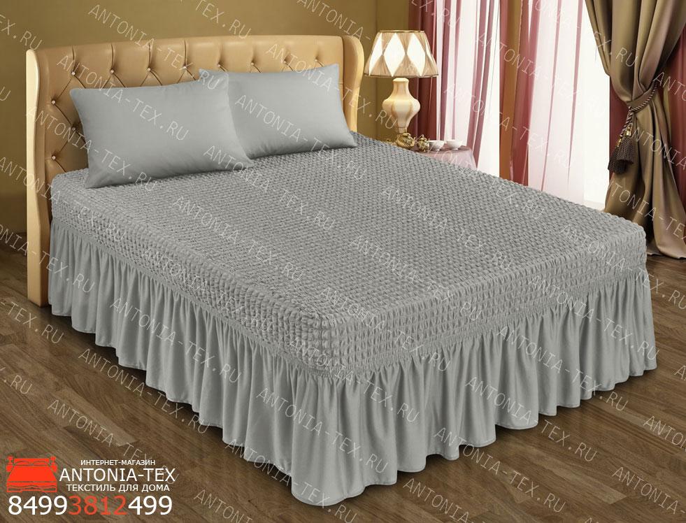 Чехол на кровать Жатка с оборкой Серебро