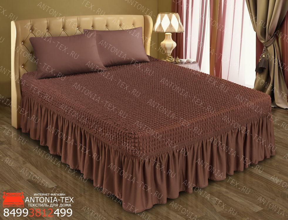 Чехол на кровать Жатка с оборкой Шоколад