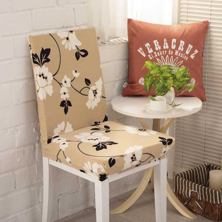 Чехол на стул эластичный с рисунком без оборкиИсабель