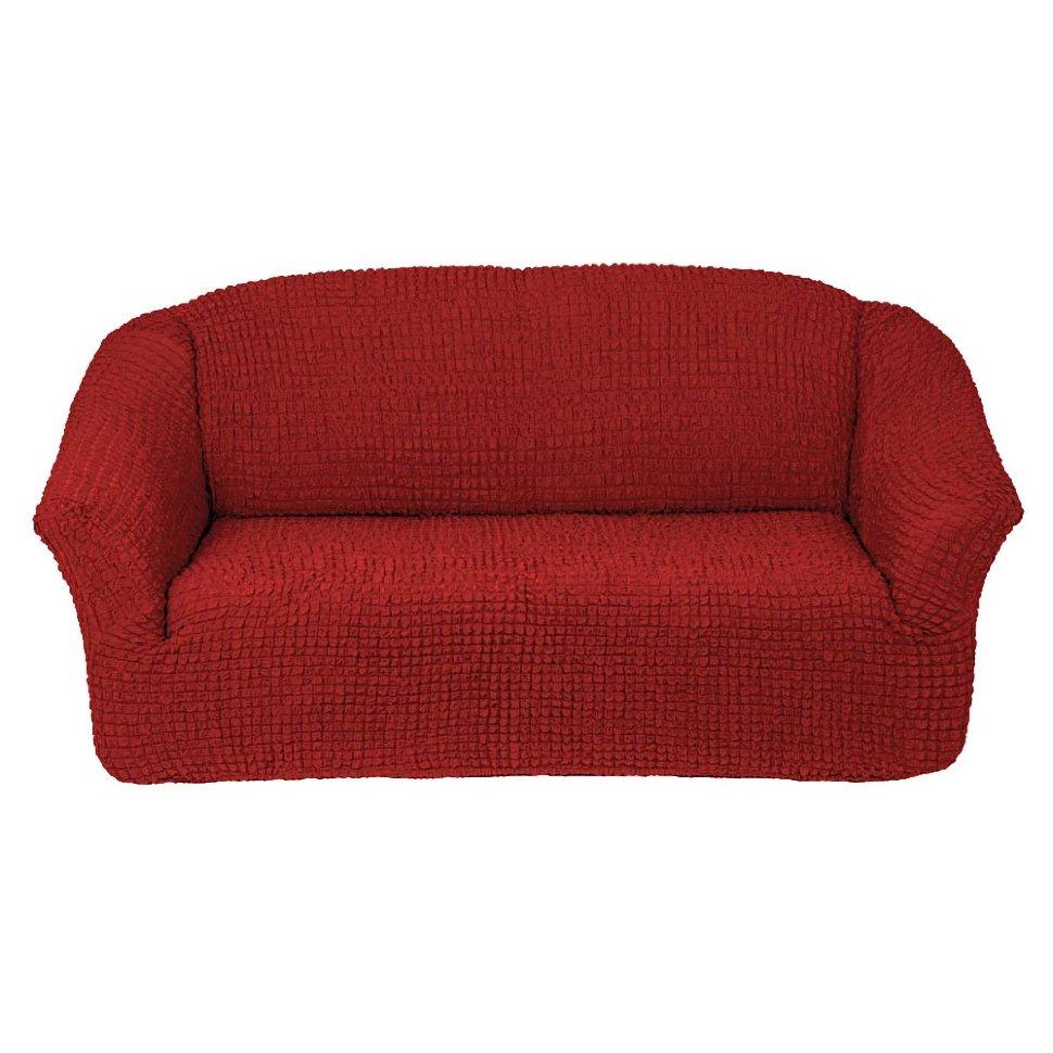 Чехол на диван без юбки на резинке, цвет Кирпичный