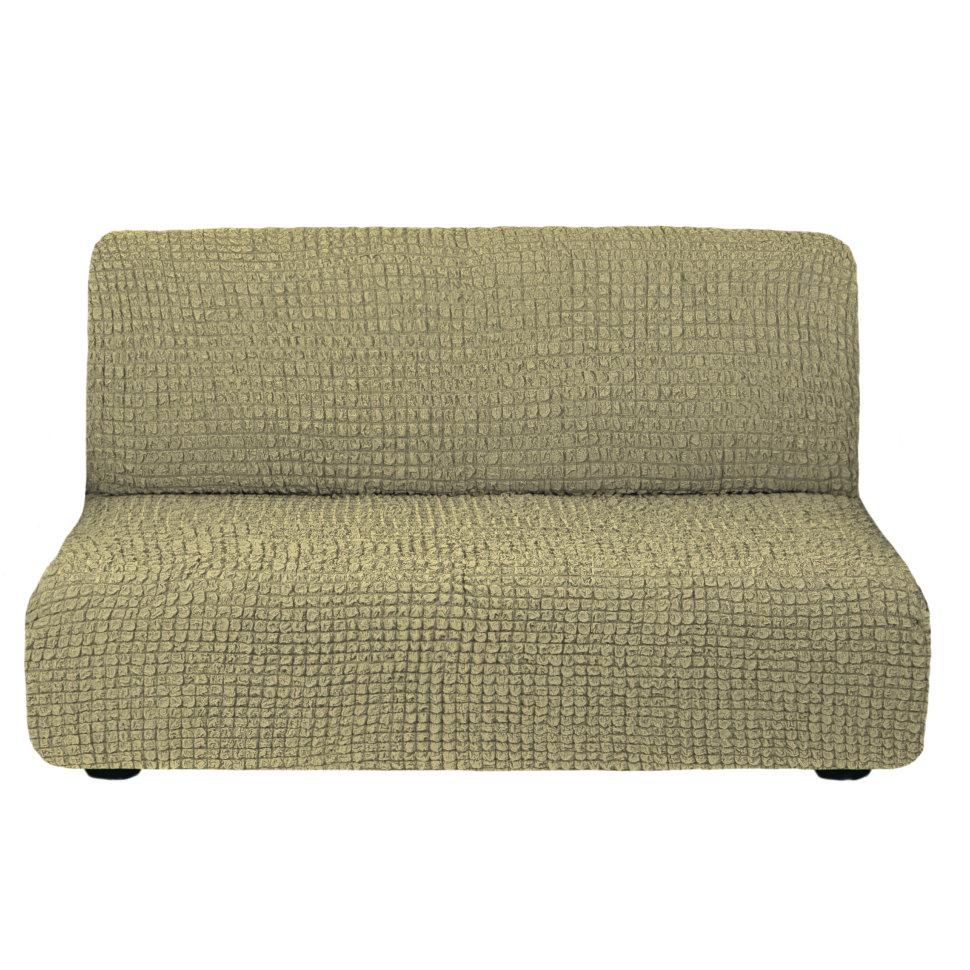 Чехол на диван без подлокотников на резинке, цвет Темно-оливковый