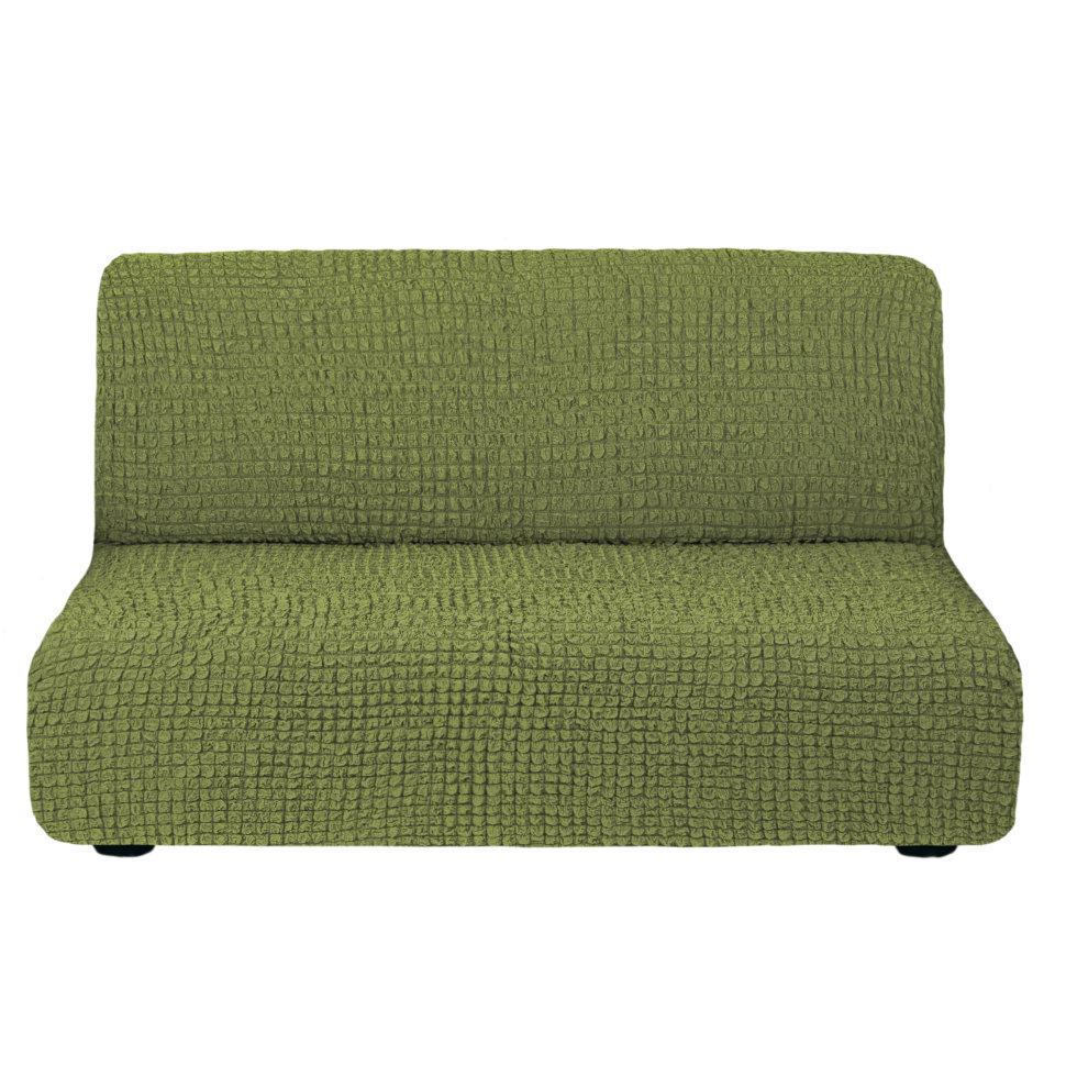 Чехол на диван без подлокотников на резинке, цвет Изумруд