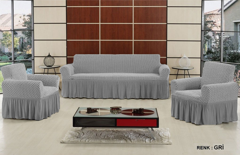 Чехол на трехместный диван и 2 кресла Altinkoza Серый
