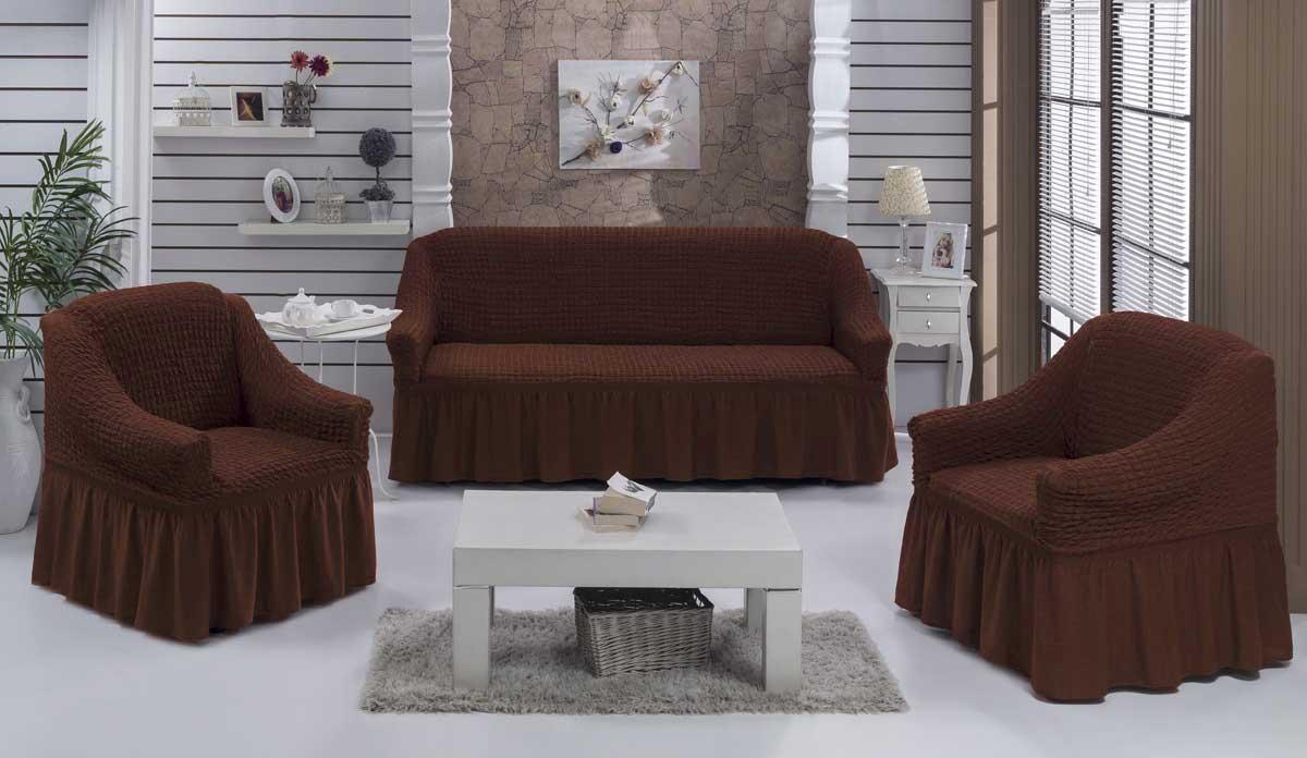 Чехол на диван и кресла на резинке с юбкой Шоколад