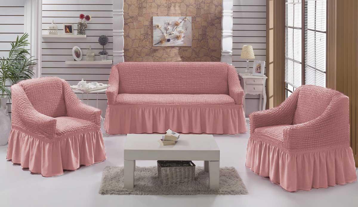 Чехол на диван и  кресла на резинке с юбкой Грязно-розовый