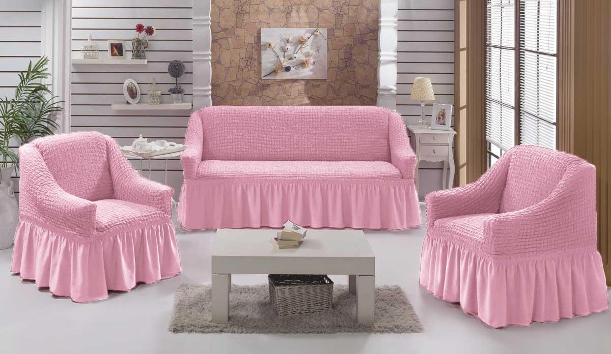 Чехол на диван и кресла на резинке с юбкой Розовый