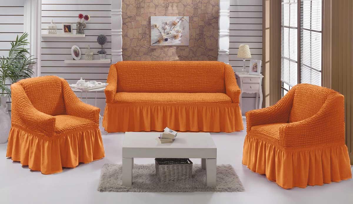 Чехол на диван и кресла на резинке с юбкой Рыжий