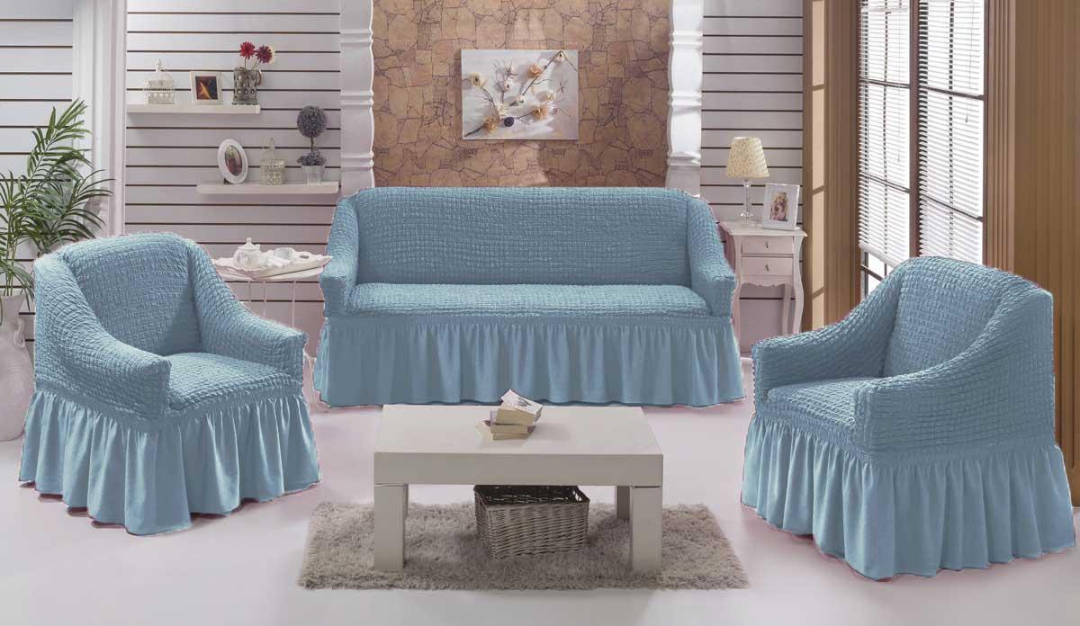 Чехол на диван и кресла на резинке с юбкой Серо-голубой