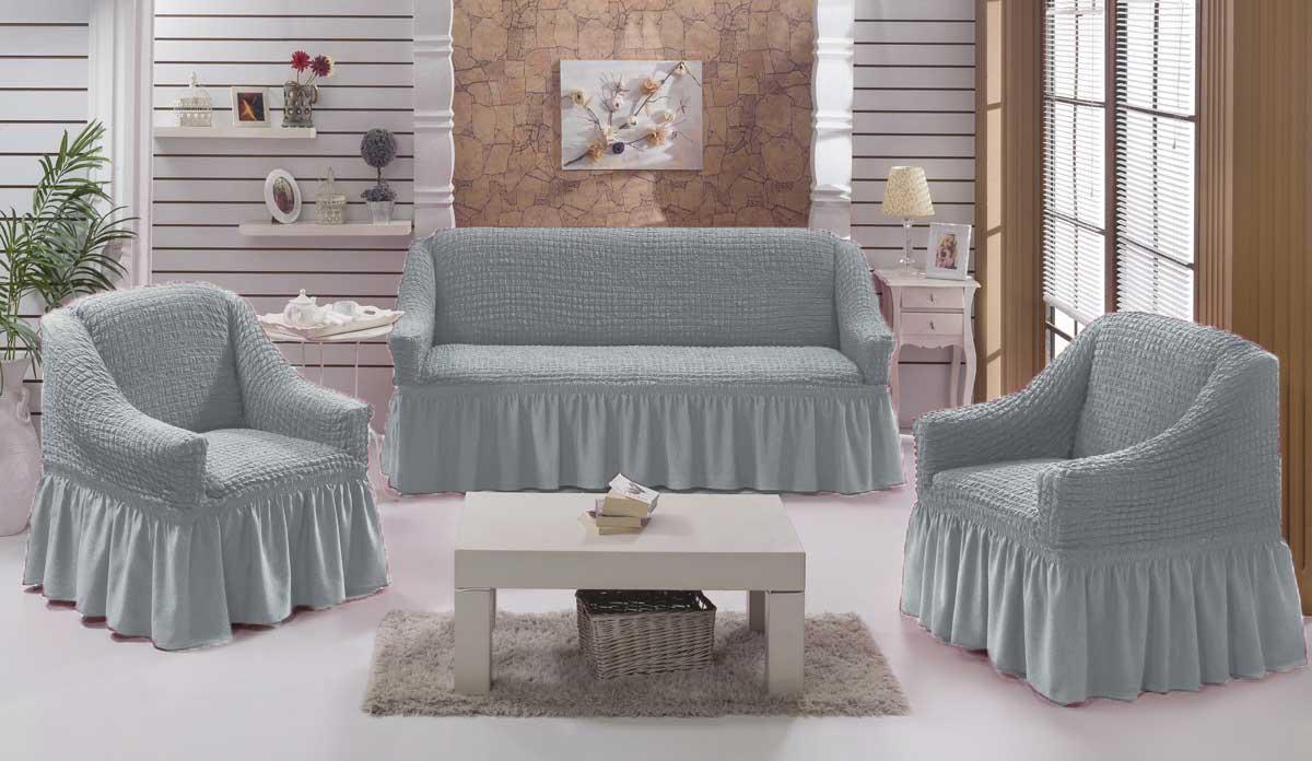 Чехол на диван и кресла на резинке с юбкой Серый