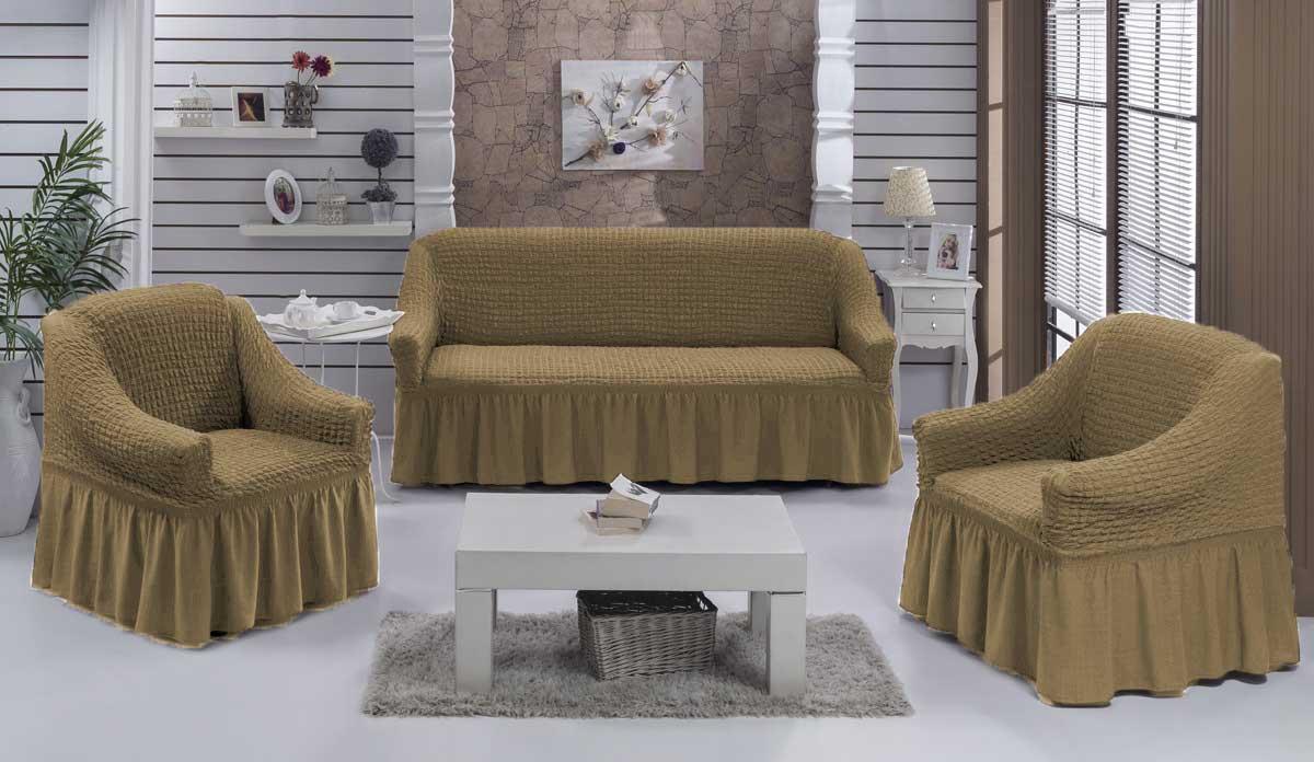 Чехол на диван и  кресла на резинке с юбкой Болотный