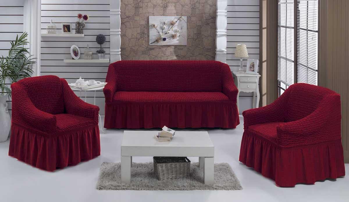 Чехол на диван и  кресла на резинке с юбкой Бордовый