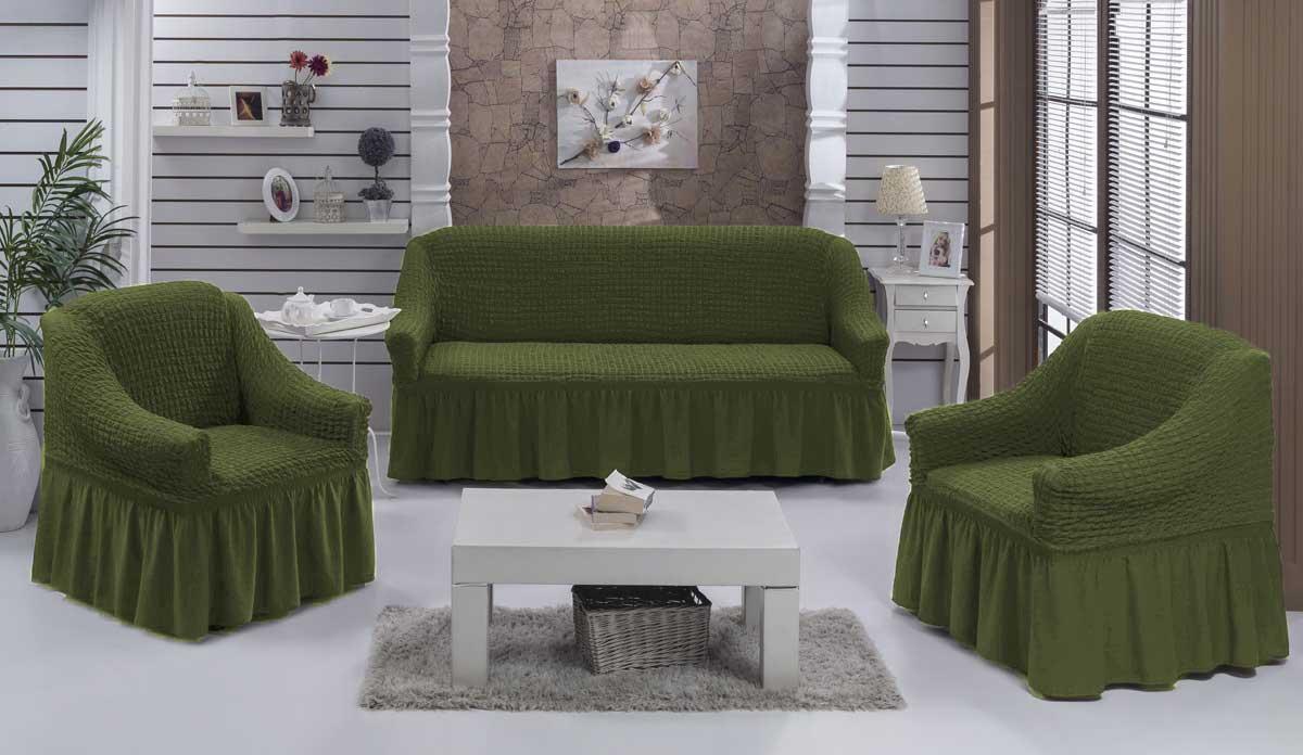 Чехол на диван и кресла на резинке с юбкой Зеленый