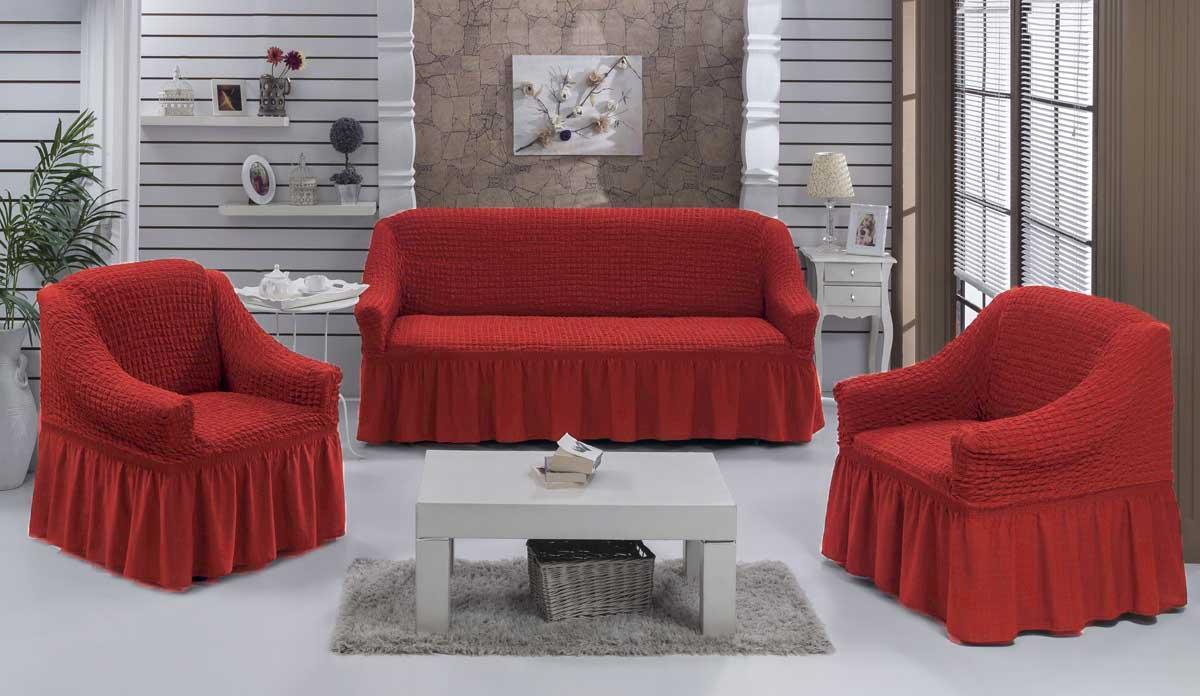 Чехол на диван и кресла на резинке с юбкой Кирпичный