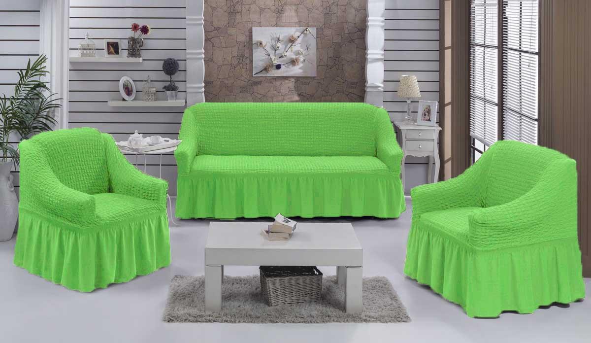 Чехол на диван и кресла на резинке с юбкой Салатовый