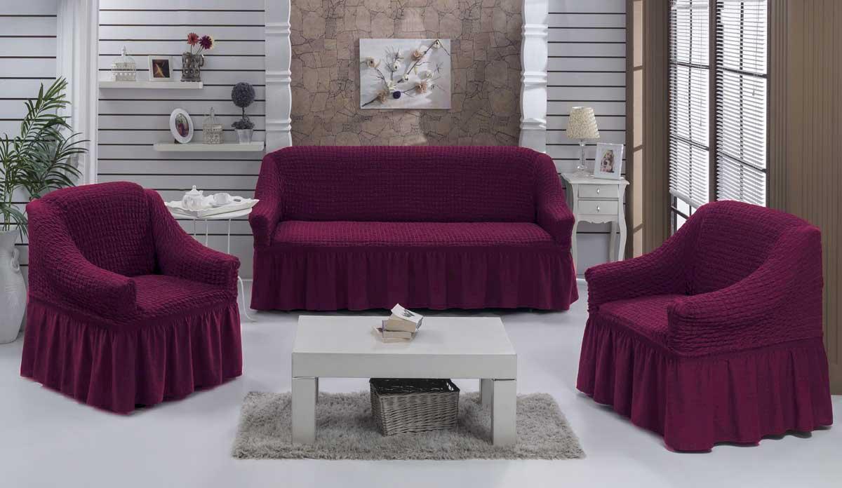 Чехол на диван и кресла на резинке с юбкой Сливовый