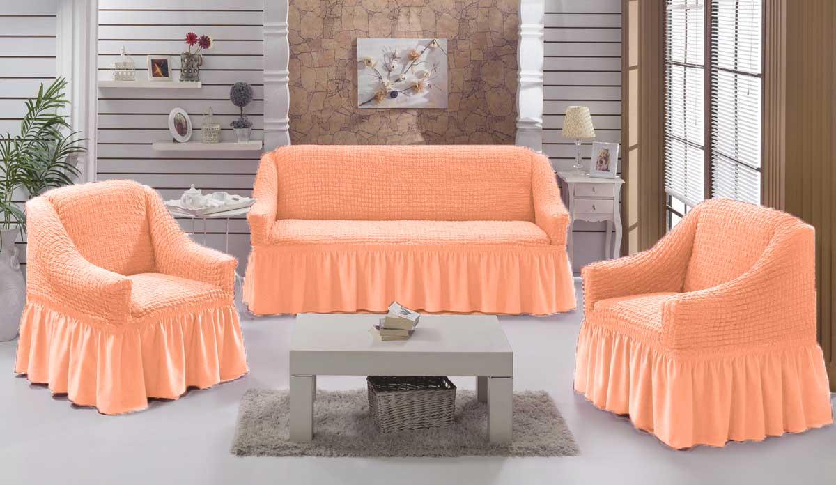 Чехол на диван и кресла на резинке с юбкой Персик