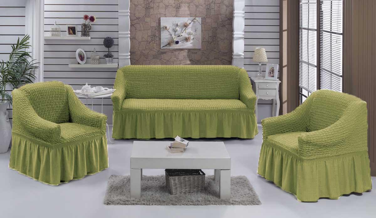 Чехол на диван и кресла на резинке с юбкой Фисташковый