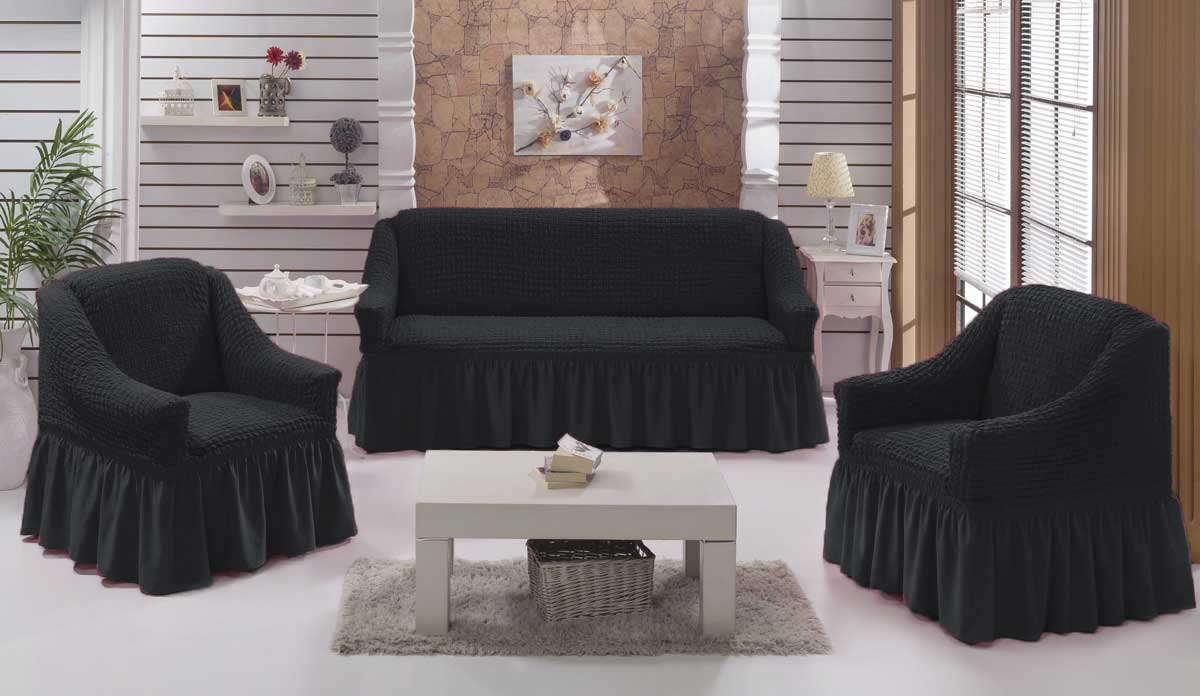 Чехол на диван и  кресла на резинке с юбкой Антрацит