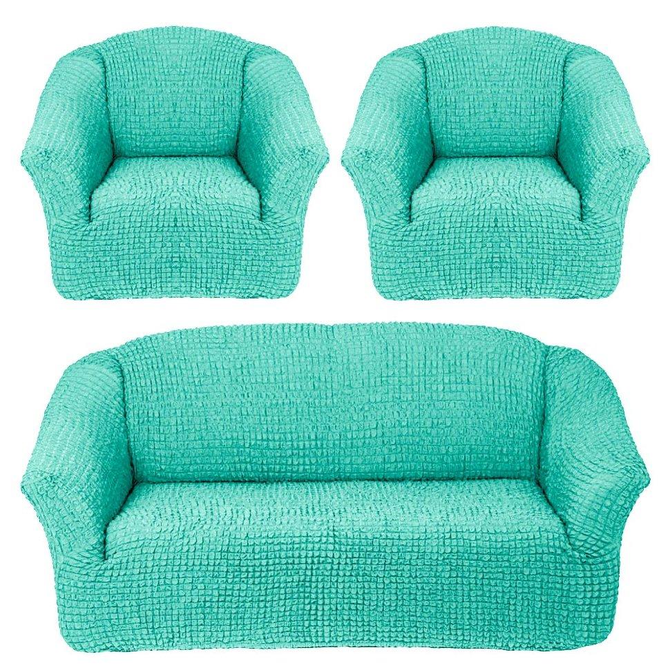 Чехлы на диван и кресла без юбки Мятный