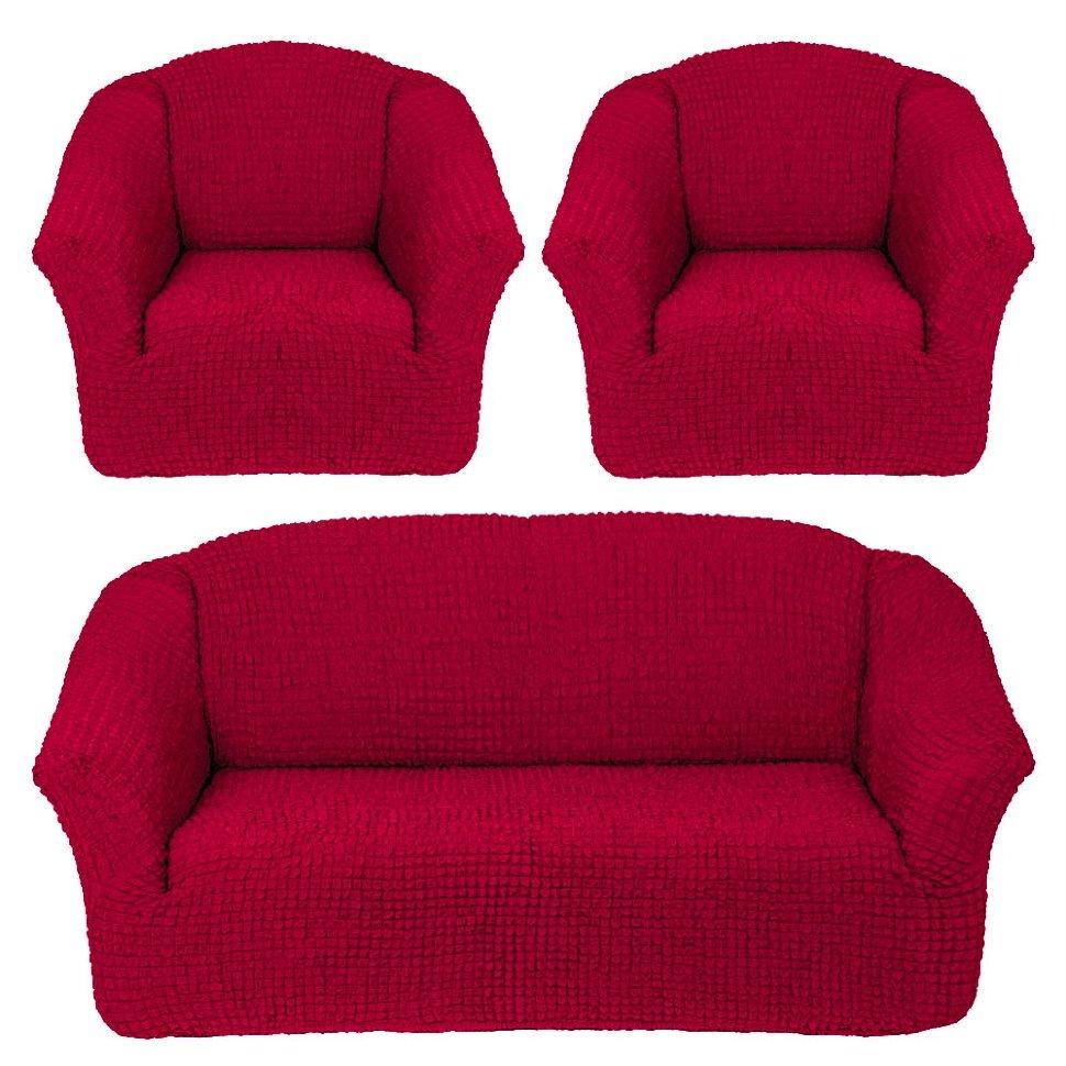 Комплект чехлов на диван и два кресла без оборки Бордовый