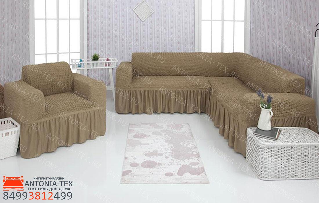 Чехол на угловой диван и кресло с оборкой Хаки