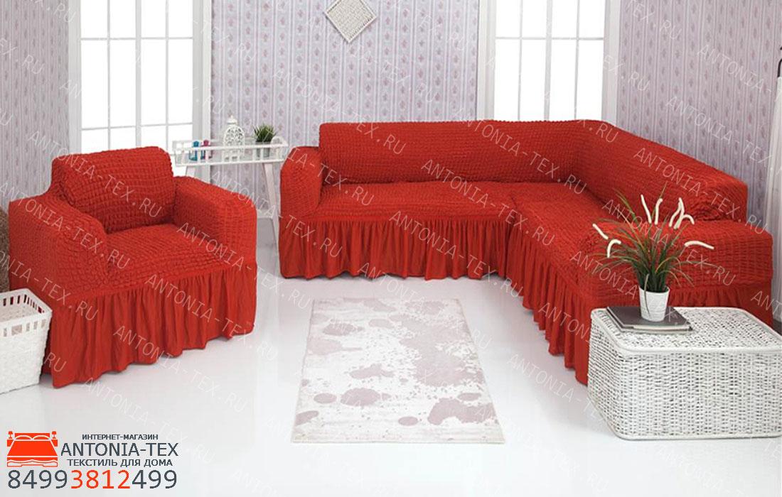 Чехол на угловой диван и кресло с оборкой Терракотовый