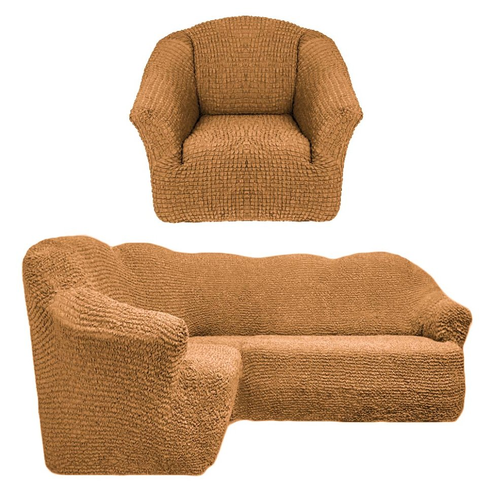 Чехол на угловой диван и кресло универсальный без оборки Горчица