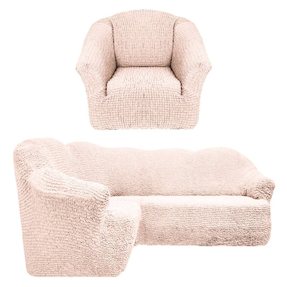 Чехол на угловой диван и кресло универсальный без оборки Натуральный