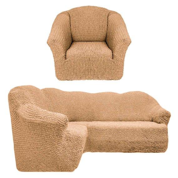 Чехол на угловой диван и кресло универсальный без оборки Медовый