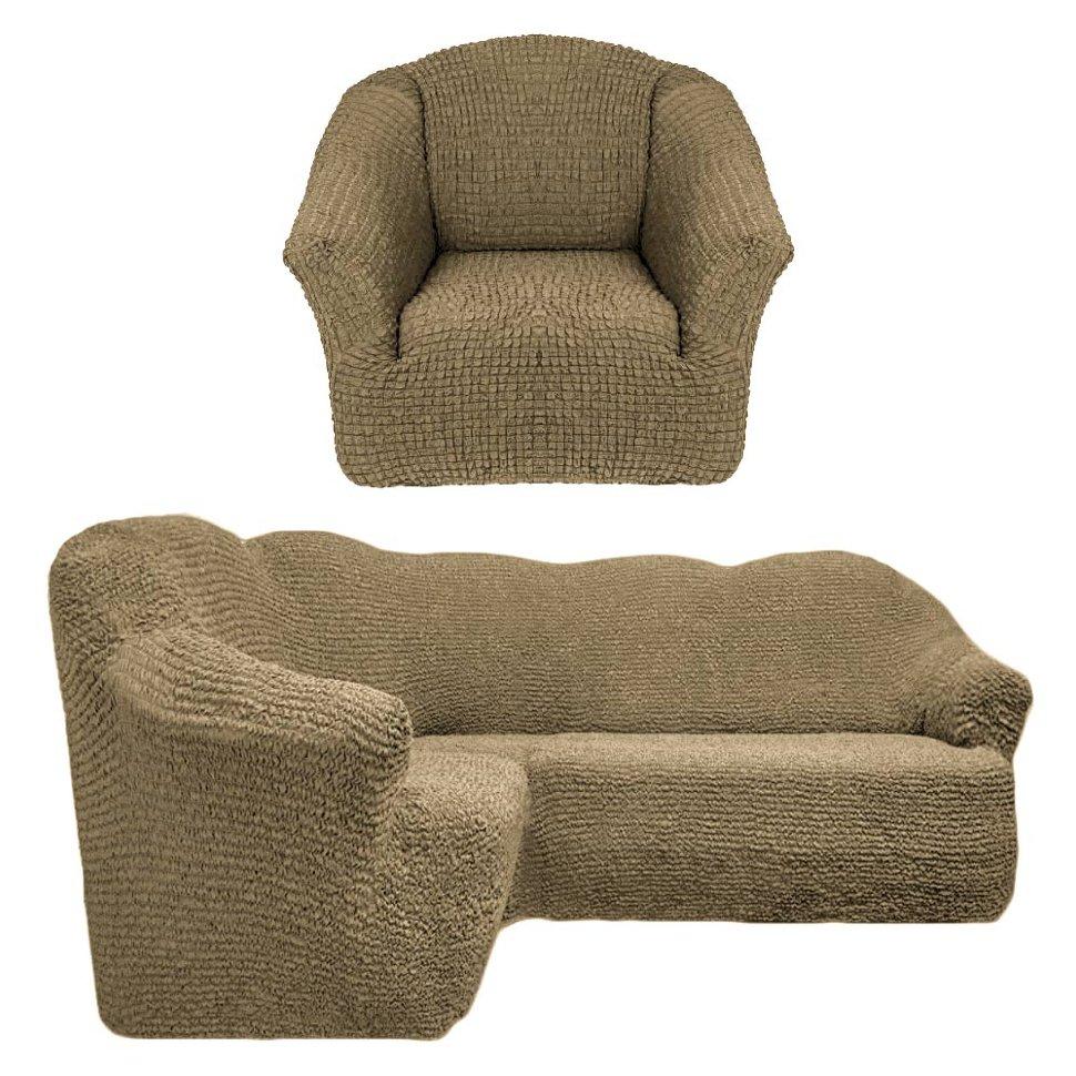 Чехол на угловой диван и кресло универсальный без оборки Оливковый