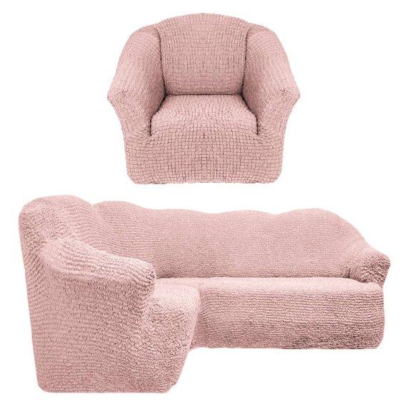Чехол на угловой диван и кресло универсальный без оборки Пудра