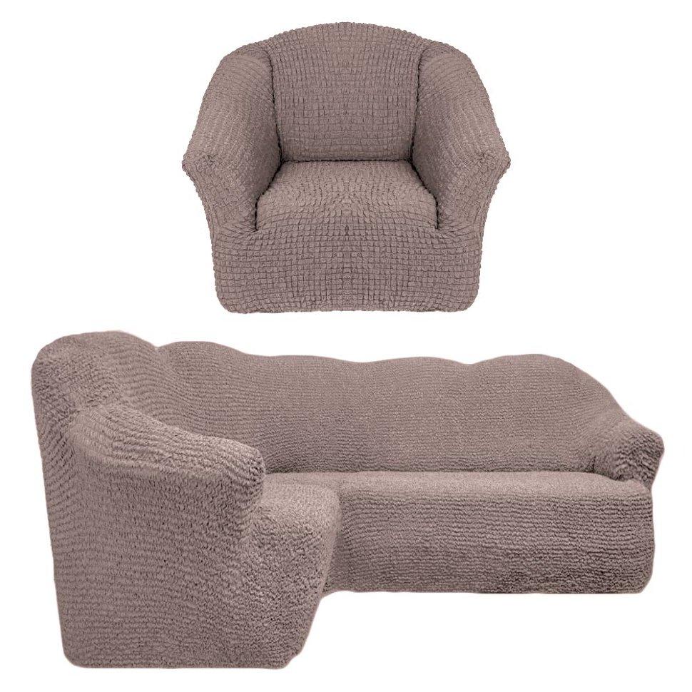 Чехол на угловой диван и кресло универсальный без оборки Жемчужный