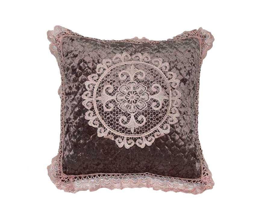 Декоративная наволочка на подушку с кружевом кофе