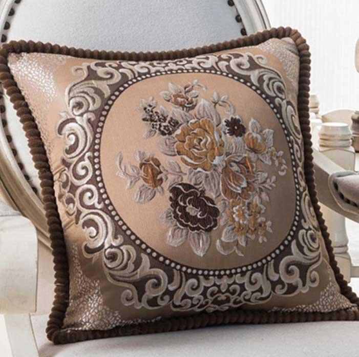 Декоративная наволочка с вышивкой кофе m-03
