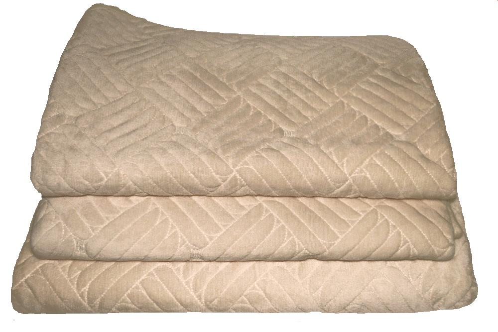 Дивандеки накидкa на диван велюр Печенье бежевый