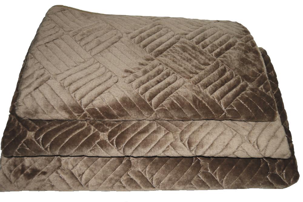 Дивандеки накидкa на диван велюр Печенье кофе