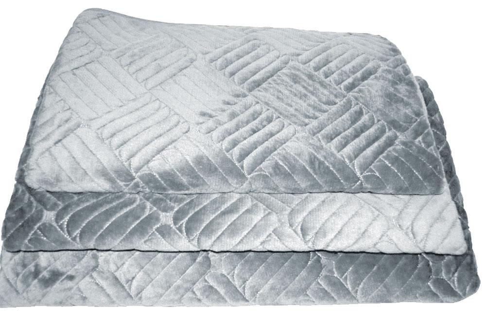 Дивандеки накидкa на диван велюр Печенье Серый